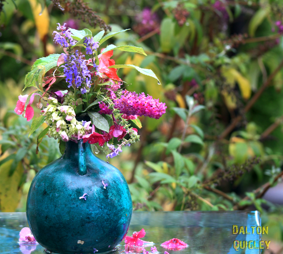 Vase of flowers childlike colorful beautiful