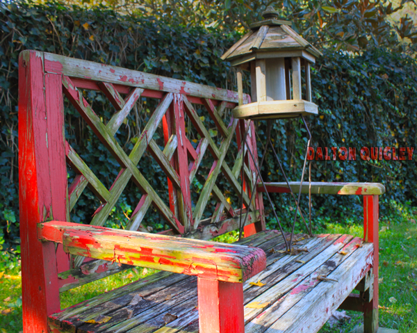 Photo of a Red Bench in a Landscape in Nashville Tn.