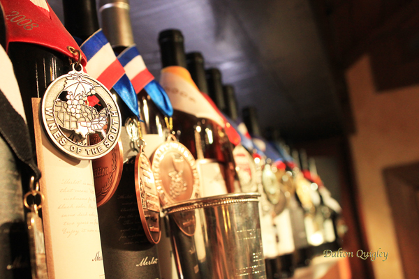 Bottles of Wine with Awards and Medals