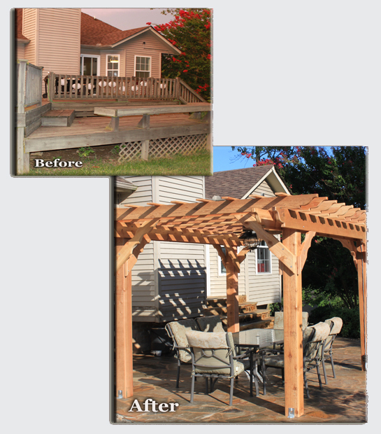 Photo of a back yard with a 3 tiered deck that was removed to install a stone patio, the image also includes an image of the newly installed patio, steps, and arbor.